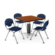 "OFM PKG-BRK-022-0005 36"" Square Laminate Multi-Purpose Table with 4 Chairs, Cherry Table/Navy Chair"
