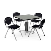 "OFM PKG-BRK-022-0007 36"" Square Laminate Multi-Purpose Table with 4 Chairs, Gray Nebula Table/Black Chair"