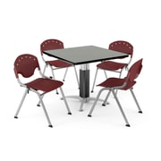 "OFM PKG-BRK-022-0009 36"" Square Laminate Multi-Purpose Table with 4 Chairs, Gray Nebula Table/Burgundy Chair"