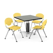 "OFM PKG-BRK-022-0010 36"" Square Laminate Multi-Purpose Table with 4 Chairs, Gray Nebula Table/Lemon Yellow Chair"