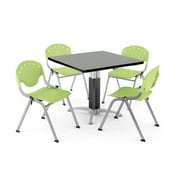 "OFM PKG-BRK-022-0012 36"" Square Laminate Multi-Purpose Table with 4 Chairs, Gray Nebula Table/Lime Green Chair"
