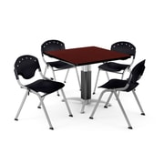 "OFM PKG-BRK-022-0013 36"" Square Laminate Multi-Purpose Table with 4 Chairs, Mahogany Table/Black Chair"