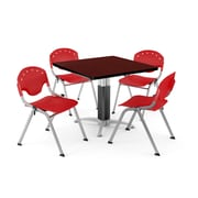 """OFM PKG-BRK-022-0014 36"""" Square Laminate Multi-Purpose Table with 4 Chairs, Mahogany Table/Red Chair"""