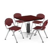"OFM PKG-BRK-022-0015 36"" Square Laminate Multi-Purpose Table with 4 Chairs, Mahogany Table/Burgundy Chair"