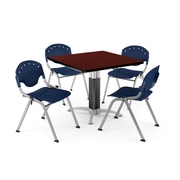"OFM PKG-BRK-024-0017 42"" Square Laminate Multi-Purpose Table with 4 Chairs, Mahogany Table/Navy Chair"