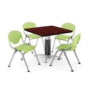 OFM PKG-BRK-024-0018 42 Square Laminate Multi-Purpose Table with 4 Chairs, Mahogany Table/Lime Green Chair