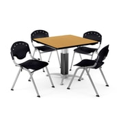 "OFM PKG-BRK-022-0019 36"" Square Laminate Multi-Purpose Table with 4 Chairs, Oak Table/Black Chair"