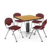 "OFM PKG-BRK-022-0021 36"" Square Laminate Multi-Purpose Table with 4 Chairs, Oak Table/Burgundy Chair"