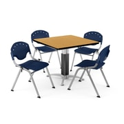 """OFM PKG-BRK-022-0023 36"""" Square Laminate Multi-Purpose Table with 4 Chairs, Oak Table/Navy Chair"""