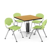 OFM PKG-BRK-024-0024 42 Square Laminate Multi-Purpose Table with 4 Chairs, Oak Table/Lime Green Chair