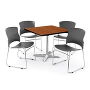 "OFM PKG-BRK-025-0001 36"" Square Laminate Multi-Purpose Table with 4 Chairs, Cherry Table/Gray Chair"