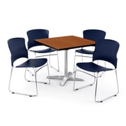 "OFM PKG-BRK-025-0004 36"" Square Laminate Multi-Purpose Table with 4 Chairs, Cherry Table/Navy Chairs"