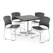 "OFM PKG-BRK-025-0005 36"" Square Laminate Multi-Purpose Table with 4 Chairs, Gray Nebula Table/Gray Chair"