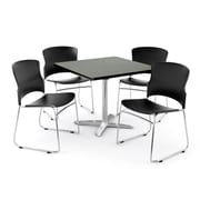 OFM PKG-BRK-026-0006 42 Square Laminate Multi-Purpose Table with 4 Chairs, Gray Nebula Table/Black Chair