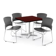 "OFM PKG-BRK-026-0009 42"" Square Laminate Multi-Purpose Table with 4 Chairs, Mahogany Table/Gray Chair"