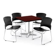 """OFM PKG-BRK-025-0010 36"""" Square Laminate Multi-Purpose Table with 4 Chairs, Mahogany Table/Black Chair"""