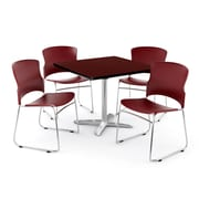 "OFM PKG-BRK-025-0011 36"" Square Laminate Multi-Purpose Table with 4 Chairs, Mahogany Table/Wine Chair"