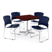 OFM PKG-BRK-026-0012 42 Square Laminate Multi-Purpose Table with 4 Chairs, Mahogany Table/Navy Chair