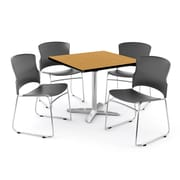 """OFM PKG-BRK-026-0013 42"""" Square Laminate Multi-Purpose Table with 4 Chairs, Oak Table/Gray Chair"""
