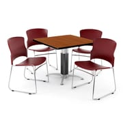 "OFM PKG-BRK-028-0003 36"" Square Laminate Multi-Purpose Table with 4 Chairs, Cherry Table/Wine Chair"