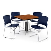 "OFM PKG-BRK-028-0004 36"" Square Laminate Multi-Purpose Table with 4 Chairs, Cherry Table/Navy Chair"