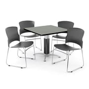 "OFM PKG-BRK-028-0005 36"" Square Laminate Multi-Purpose Table with 4 Chairs, Gray Nebula Table/Gray Chair"