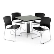 "OFM PKG-BRK-030-0006 42"" Square Laminate Multi-Purpose Table with 4 Chairs, Gray Nebula Table/Black Chairs"