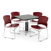 """OFM PKG-BRK-030-0007 42"""" Square Laminate Multi-Purpose Table with 4 Chairs, Gray Nebula Table/Wine Chairs"""