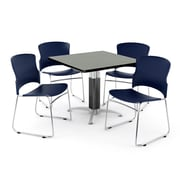 "OFM PKG-BRK-028-0008 36"" Square Laminate Multi-Purpose Table with 4 Chairs, Gray Nebula Table/Navy Chair"