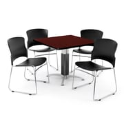 OFM PKG-BRK-030-0010 42 Square Laminate Multi-Purpose Table with 4 Chairs, Mahogany Table/Black Chairs
