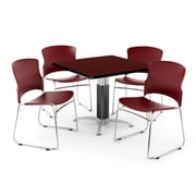 "OFM PKG-BRK-030-0011 42"" Square Laminate Multi-Purpose Table with 4 Chairs, Mahogany Table/Mahogany Chairs"