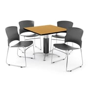 """OFM PKG-BRK-028-0013 36"""" Square Laminate Multi-Purpose Table with 4 Chairs, Oak Table/Gray Chair"""