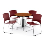 "OFM PKG-BRK-029-0003 42"" Round Laminate Multi-Purpose Table with 4 Chairs, Cherry Table/Wine Chair"