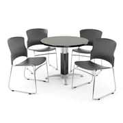 "OFM PKG-BRK-029-0005 42"" Round Multi-Purpose Table with 4 Chairs, Laminate Gray Nebula Table/Gray Chairs"