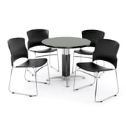 "OFM PKG-BRK-027-0006 36"" Round Laminate Multi-Purpose Table with 4 Chairs, Gray Nebula Table/Black Chair"