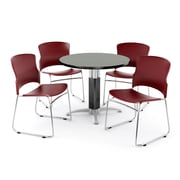 OFM PKG-BRK-027-0007 36 Round Laminate Multi-Purpose Table with 4 Chairs, Gray Nebula Table/Wine Chair