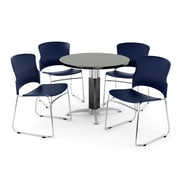 "OFM PKG-BRK-029-0008 42"" Round Laminate Multi-Purpose Table with 4 Chairs, Gray Nebula Table/Navy Chair"