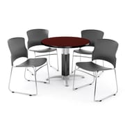 """OFM PKG-BRK-027-0009 36"""" Round Laminate Multi-Purpose Table with 4 Chairs, Mahogany Table/Gray Chair"""