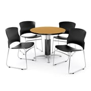 "OFM PKG-BRK-027-0014 36"" Round Laminate Multi-Purpose Table with 4 Chairs, Oak Table/Black Chair"