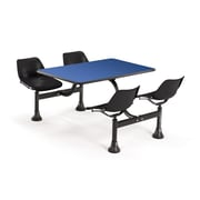 "OFM 1002-BLK-BLUE 24"" x 48"" Rectangular Laminate Cluster Table with 4 Chairs, Blue Table/Black Chair"