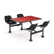 "OFM 1002-BLK-RED 24"" x 48"" Rectangular Laminate Cluster Table with 4 Chairs, Red Table/Black Chair"