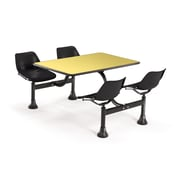 "OFM 1002-BLK-YLW 24"" x 48"" Rectangular Laminate Cluster Table with 4 Chairs, Yellow Table/Black Chair"