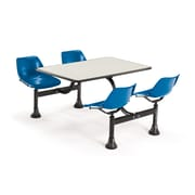 "OFM 1003-BLUE-BGNB 30"" x 48"" Rectangular Laminate Cluster Table with 4 Chairs, Beige Nebula Table/Blue Chair"