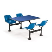 "OFM 1002-BLUE-BLUE 24"" x 48"" Rectangular Laminate Cluster Table with 4 Chairs, Blue Table/Blue Chair"
