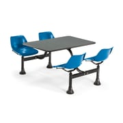 "OFM 1002-BLUE-GRYNB 24"" x 48"" Rectangular Laminate Cluster Table with 4 Chairs, Gray Nebula Table/Blue Chair"