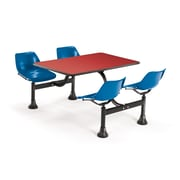 OFM 1003-BLUE-RED 30 x 48 Rectangular Laminate Cluster Table with 4 Chairs, Red Table/Blue Chair