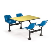 "OFM 1003-BLUE-YLW 30"" x 48"" Rectangular Laminate Cluster Table with 4 Chairs, Yellow Table/Blue Chair"