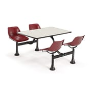 "OFM 1003-MRN-BGNB 30"" x 48"" Rectangular Laminate Cluster Table with 4 Chairs, Beige Nebula Table/Maroon Chair"