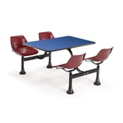 "OFM 1003-MRN-BLUE 30"" x 48"" Rectangular Laminate Cluster Table with 4 Chairs, Blue Table/Maroon Chair"