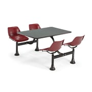 "OFM 1002-MRN-GRYNB 24"" x 48"" Rectangular Laminate Cluster Table with 4 Chairs, Gray Nebula Table/Maroon Chair"
